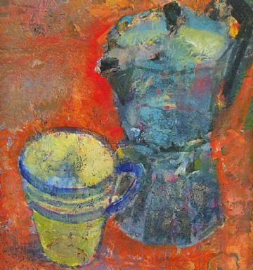 Nick Williams Original Painting Still Life Of A Bialetti Coffee Percolator
